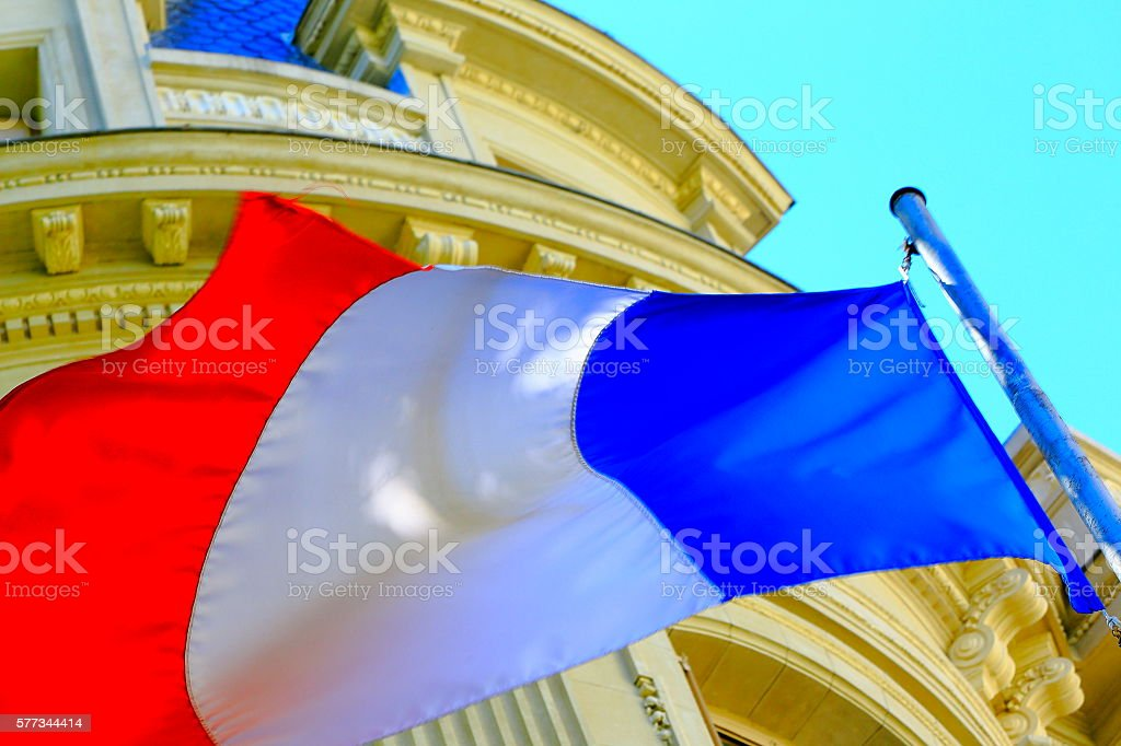 Liberté, égalité, fraternité: French Flag winding freedom stock photo