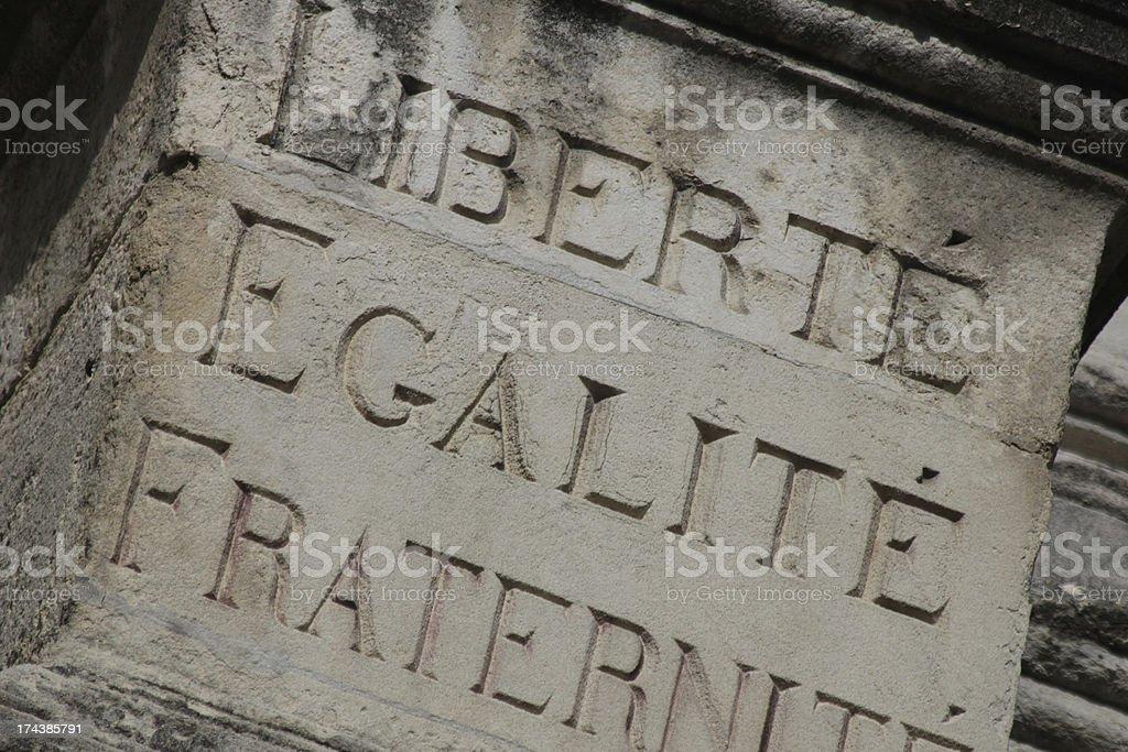 Liberty, equality, fraternity stock photo