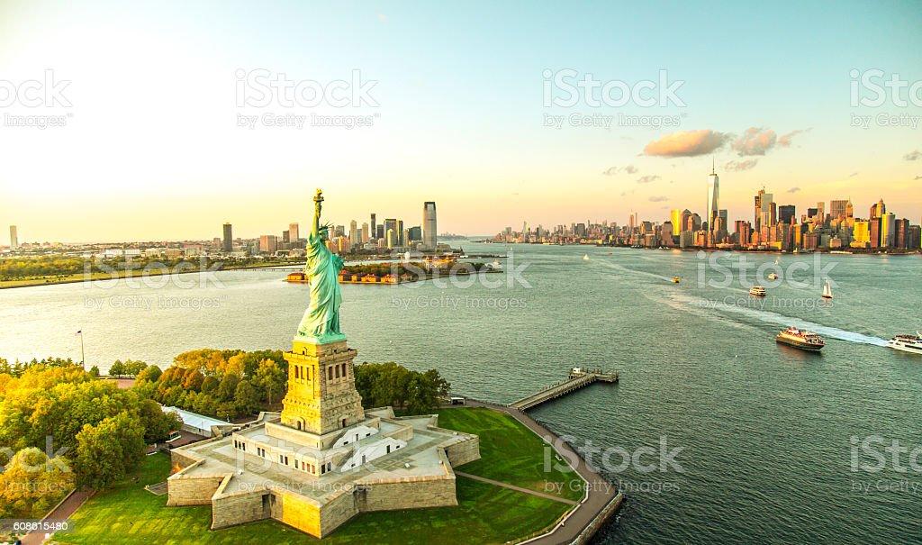 Liberty Island overlooking Manhattan Skyline stock photo