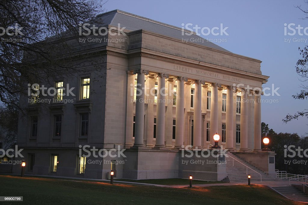 Liberty Memorial Building in Evening stock photo