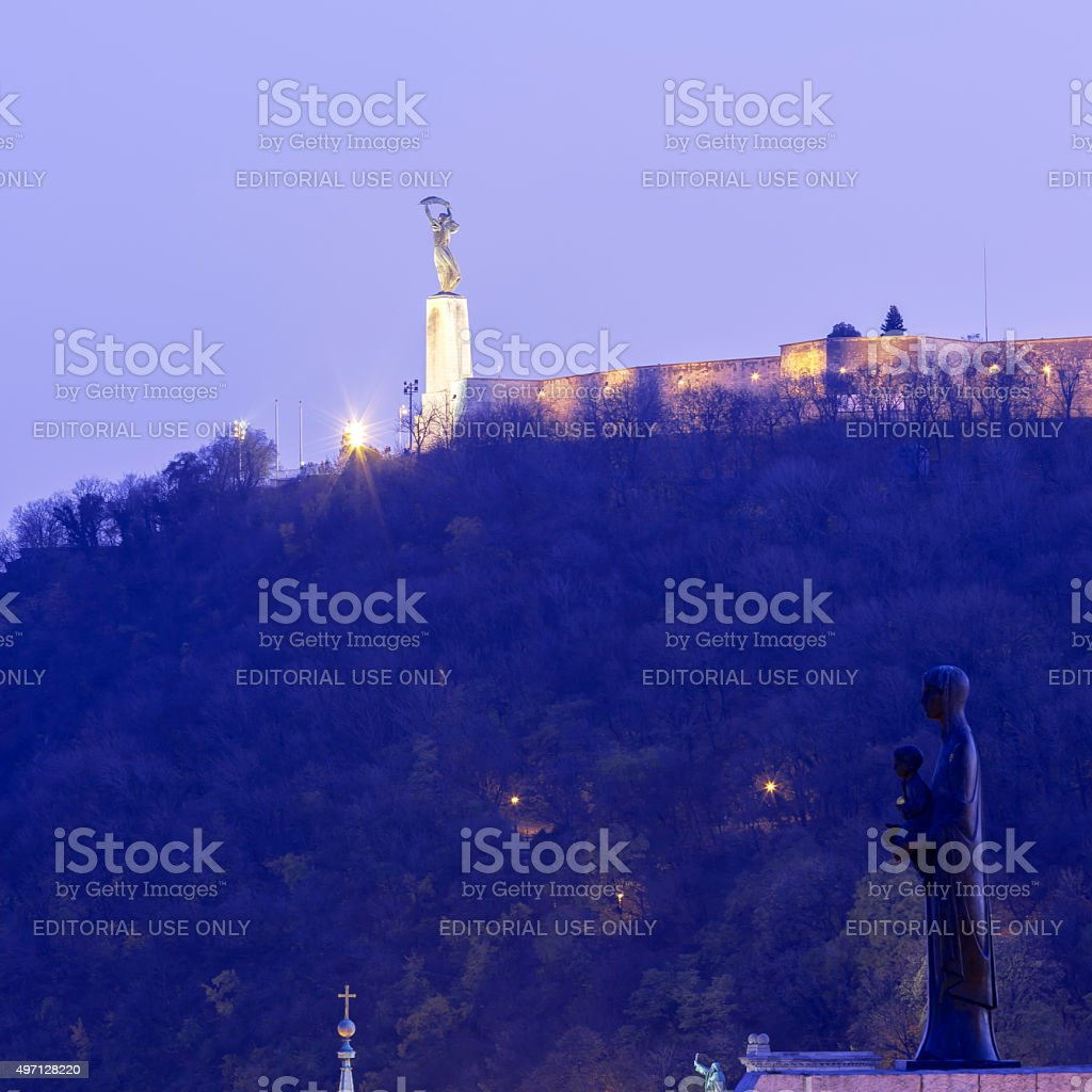 Liberty Statue and Statue of Virgin Mary in Budapest stock photo