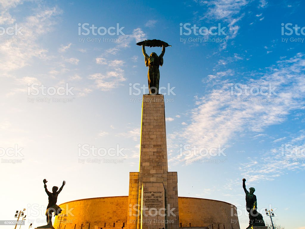 Liberty Statue monument at Citadella on Gellert Hill in Budapest stock photo