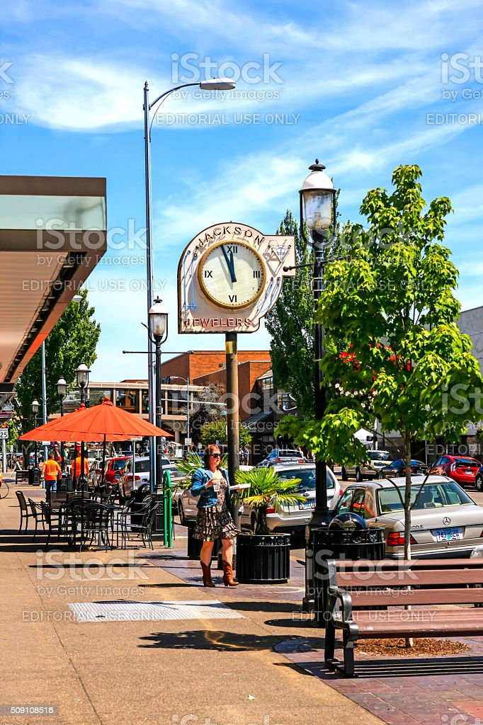 Liberty Street in downtown Salem, OR stock photo