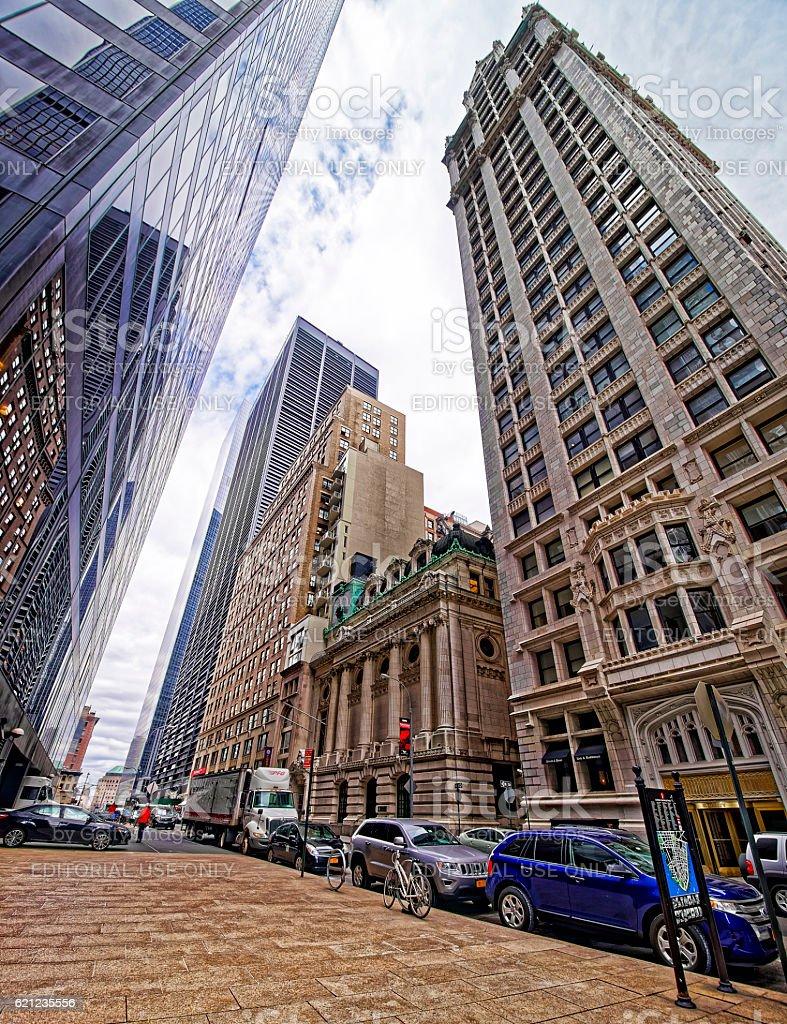 Liberty Street in Lower Manhattan stock photo