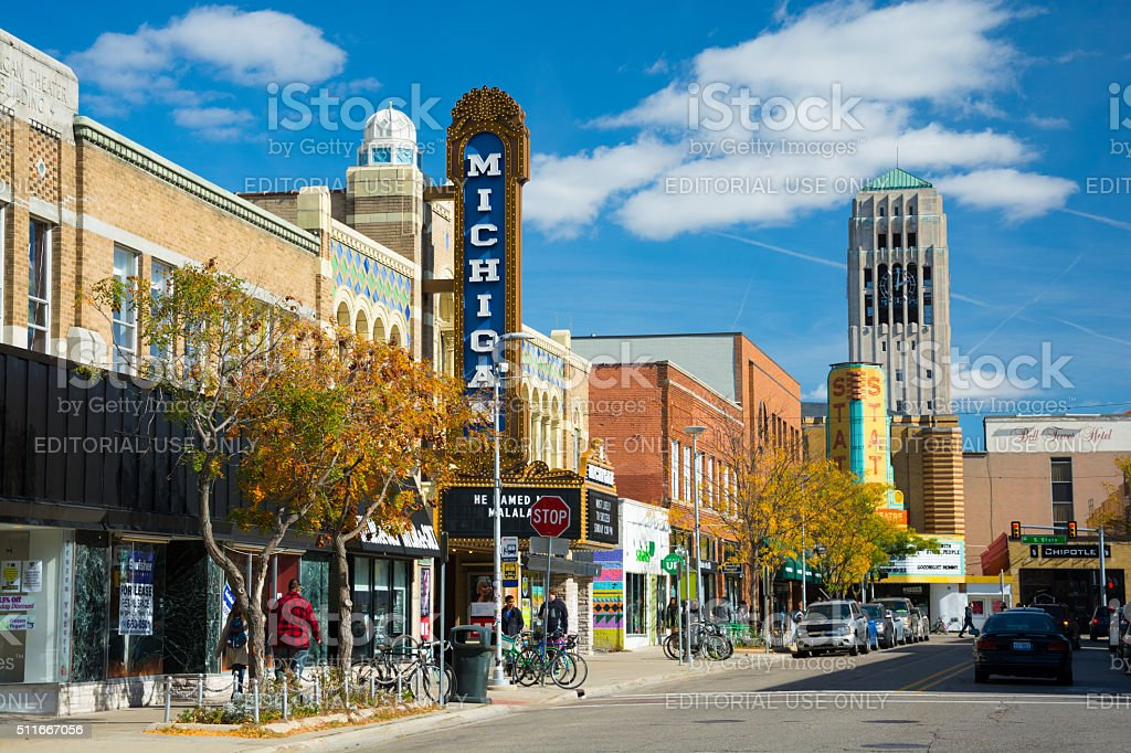 Liberty Street Scene in Ann Arbor stock photo