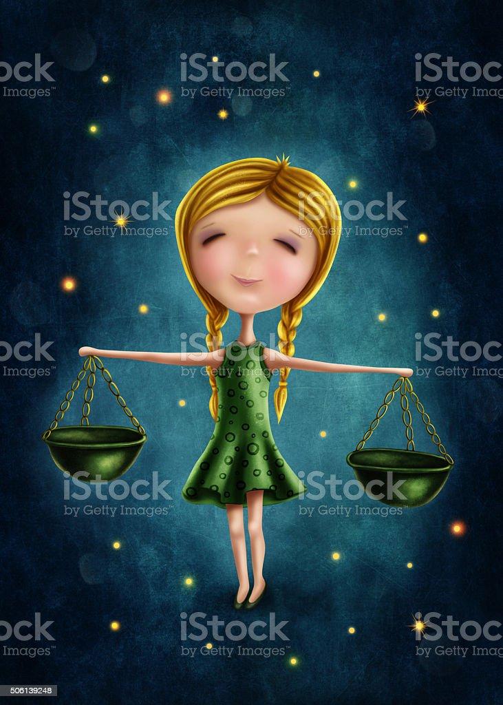Libra astrological sign girl stock photo