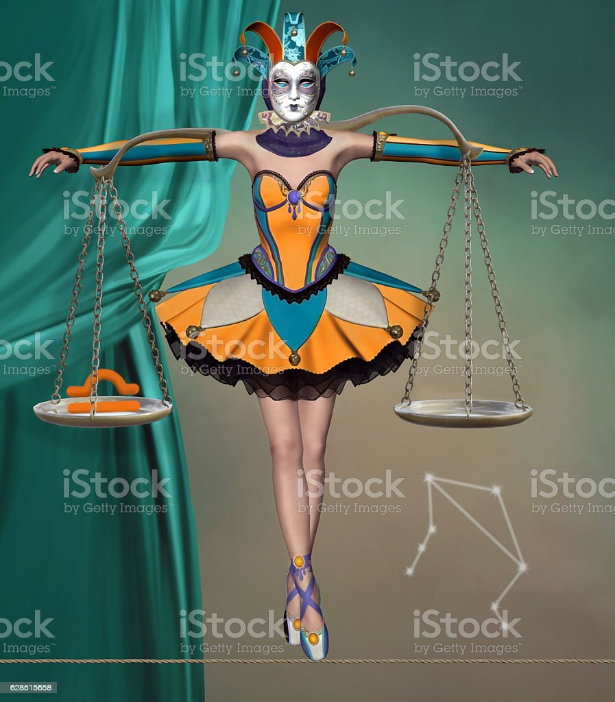 Libra like a beautiful harlequin with balance on her shoulders stock photo