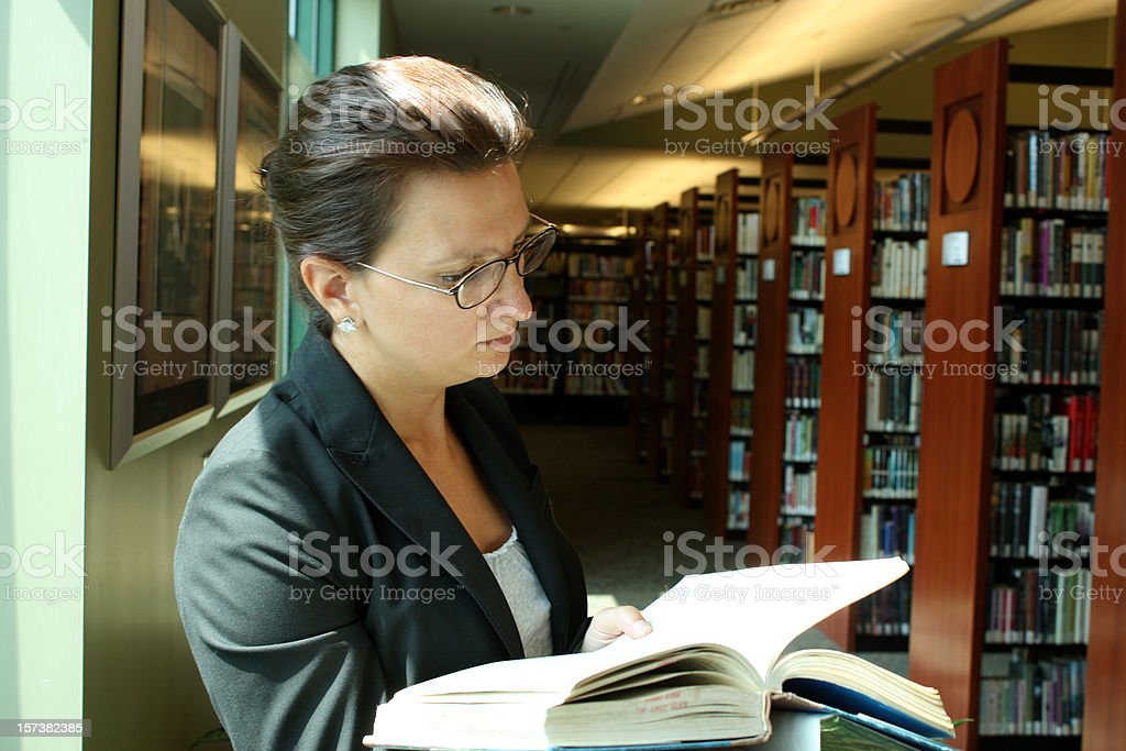 Librarian Reads A book royalty-free stock photo