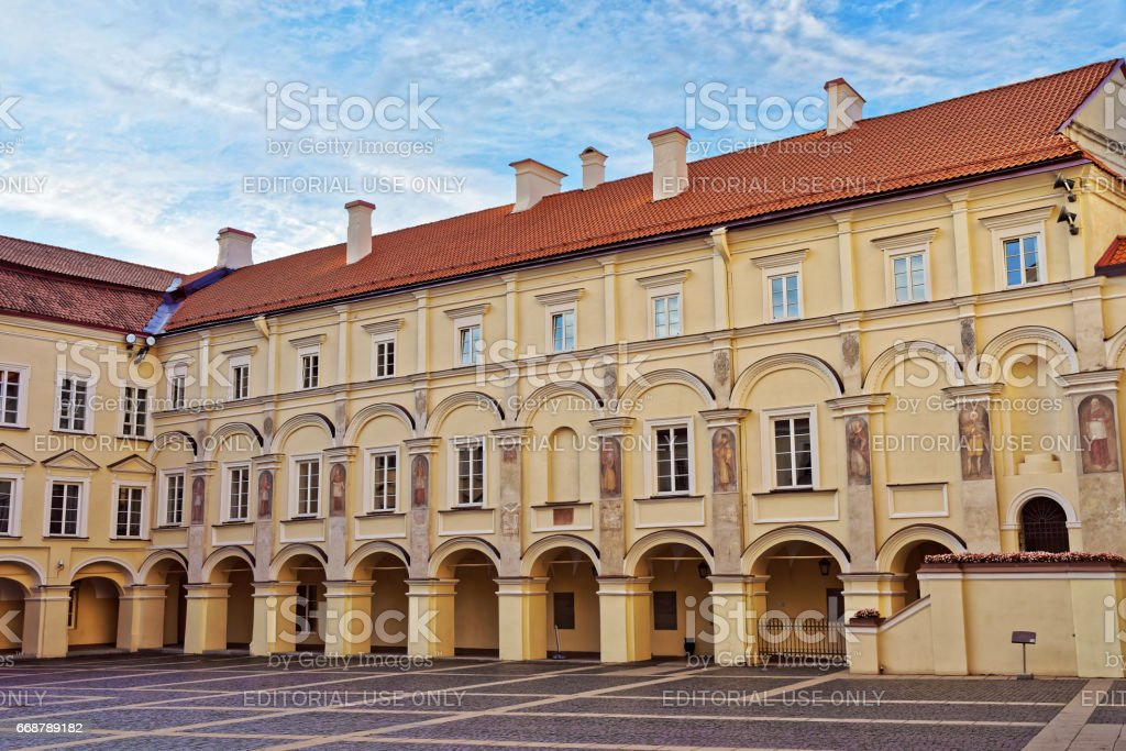 Library and Grand courtyard at Vilnius University stock photo