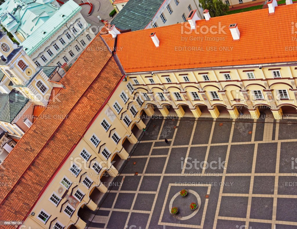 Library and Grand courtyard in Vilnius University stock photo