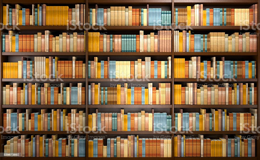 Library background with wooden shelves full of books stock photo