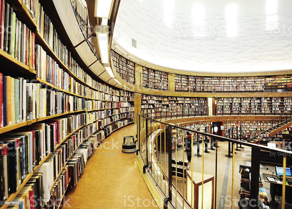 Library bookshelf, diminishing perspective stock photo