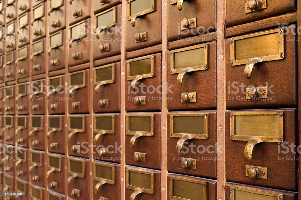 Library Drawers stock photo