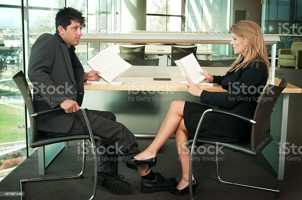 Library Flirting stock photo