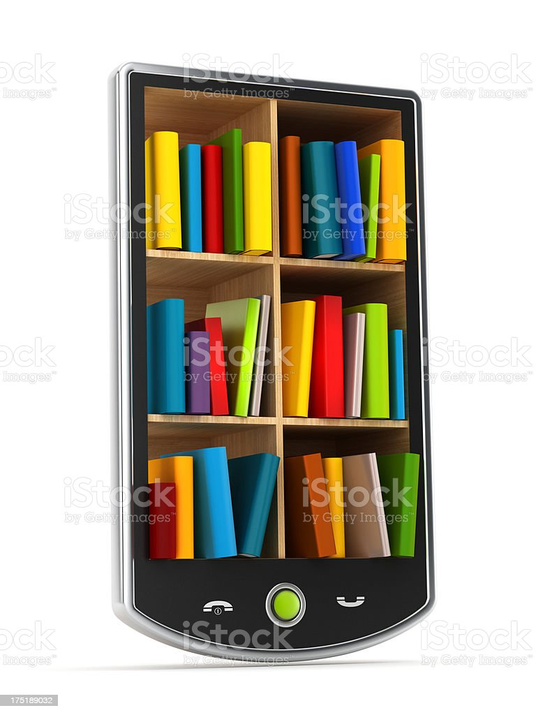Library in smartphone royalty-free stock photo
