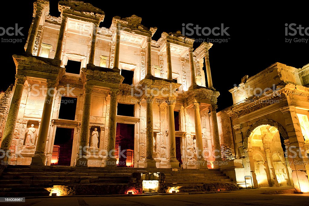 Library of Celsus, Ephesus, Turkey royalty-free stock photo