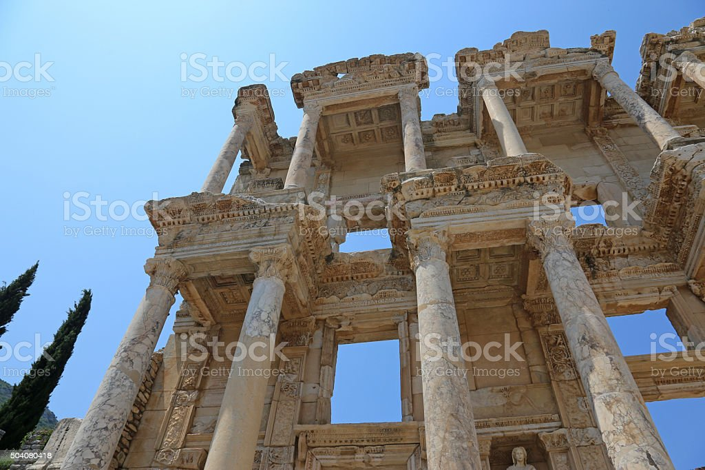Library of Celsus Facade stock photo