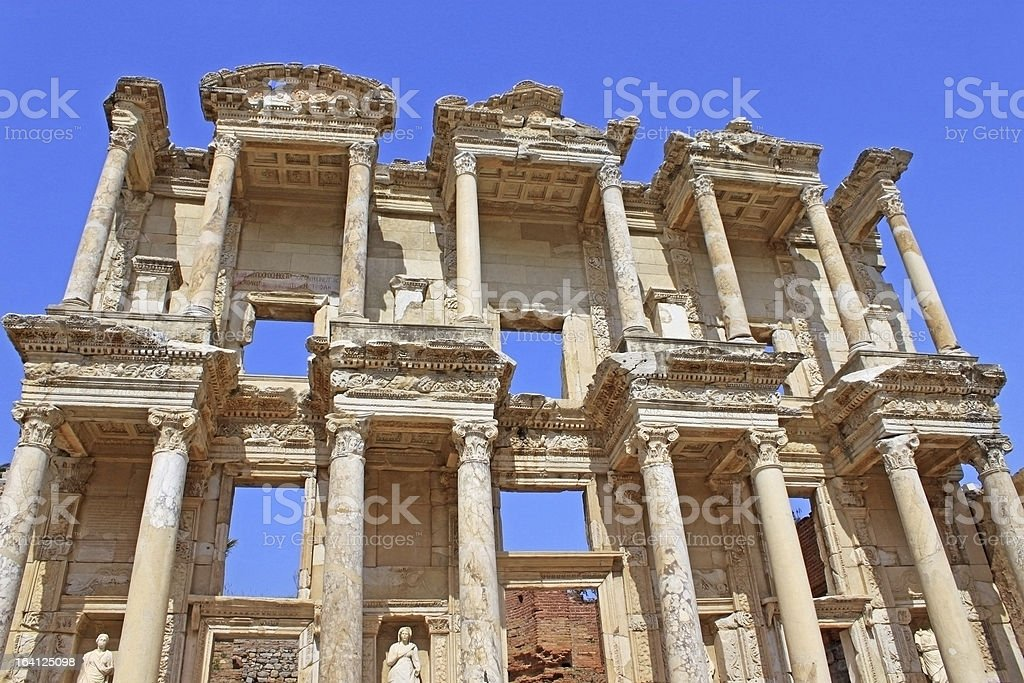 Library of Celsus in the city Ephesus royalty-free stock photo