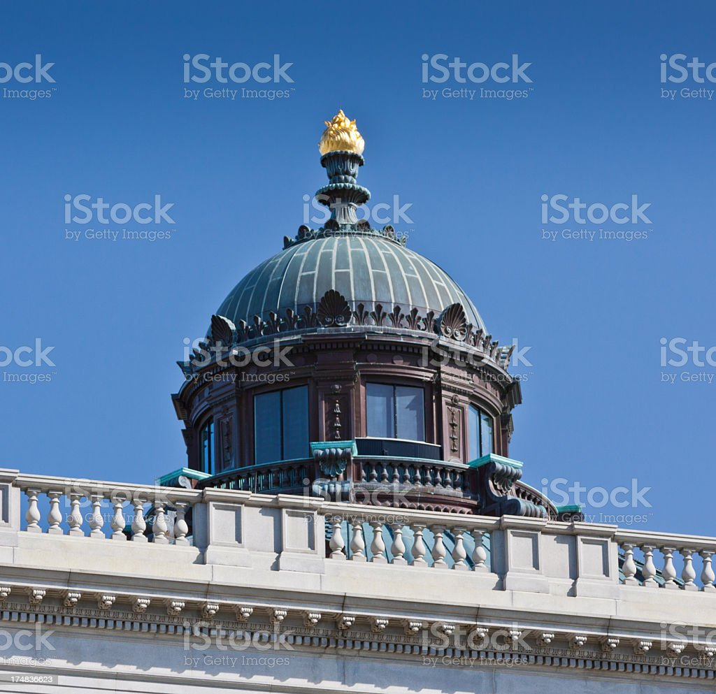 Library of Congress Dome close-up, Washington DC. Clear blue sky. royalty-free stock photo