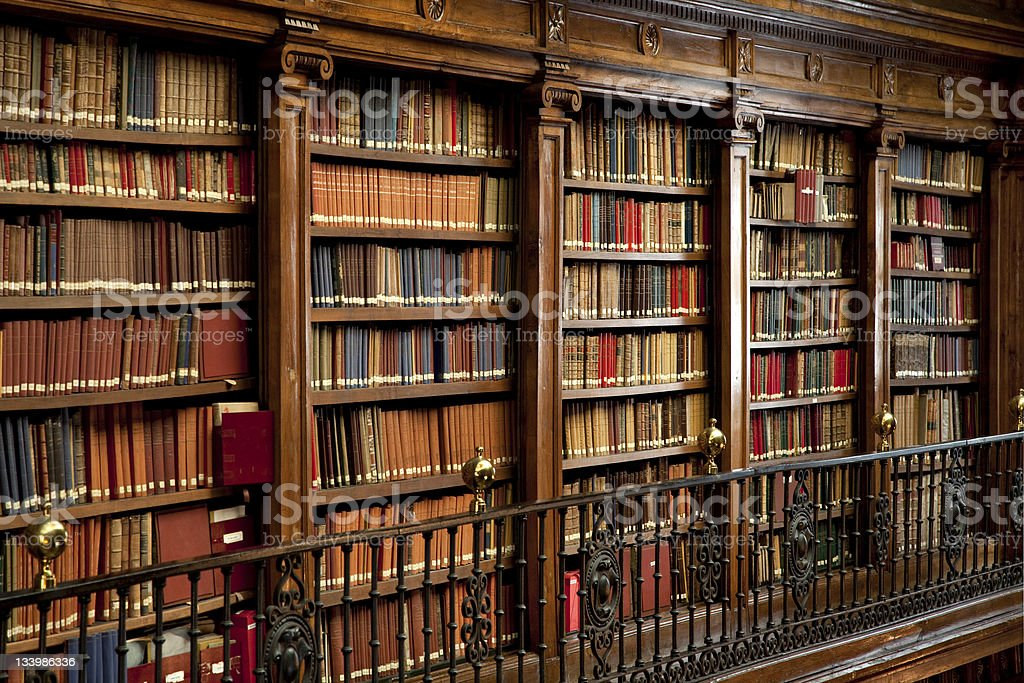 library of old books royalty-free stock photo