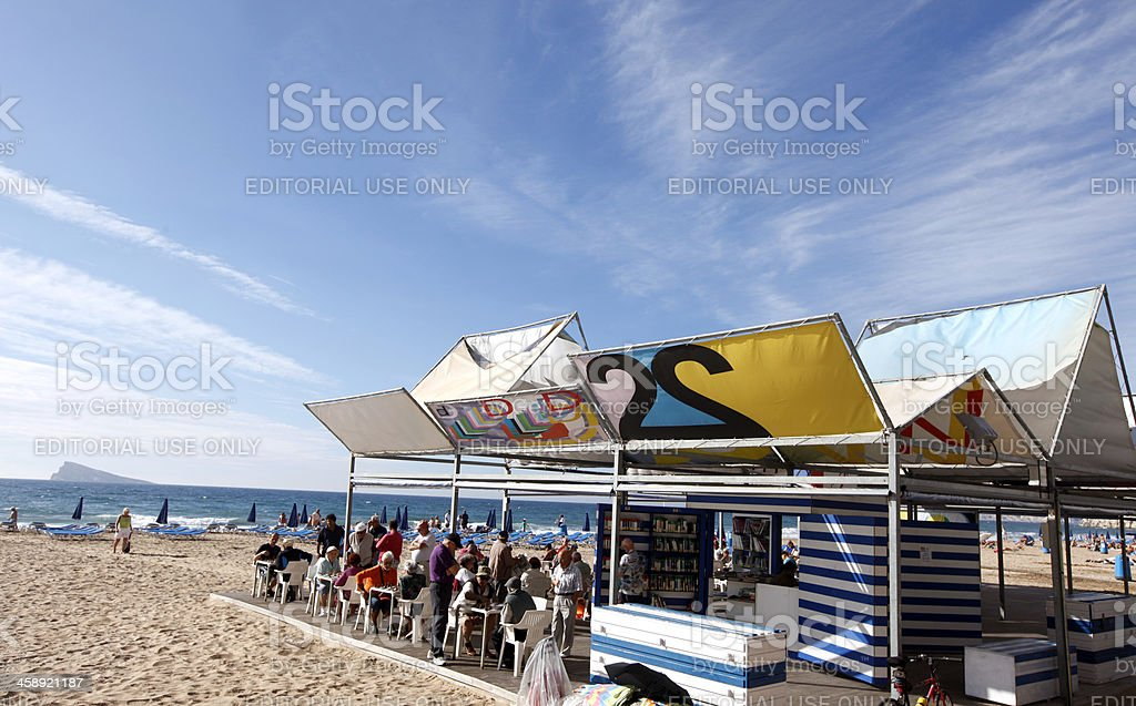 Library on the beach stock photo
