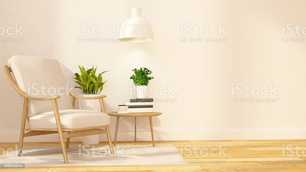 Library room and relax area - 3D Rendering stock photo