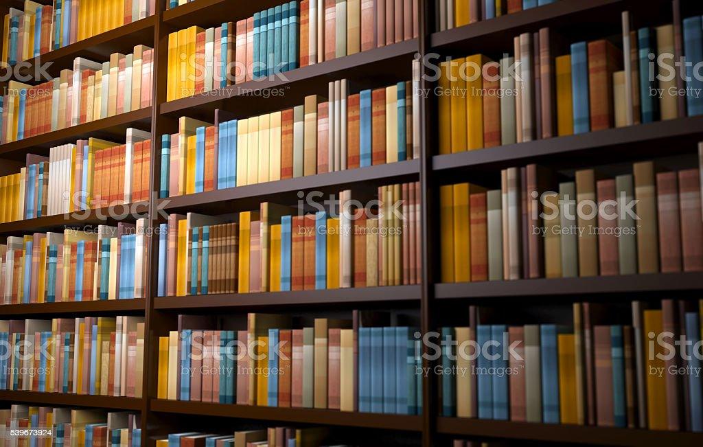 Library shelves background with row of books stock photo