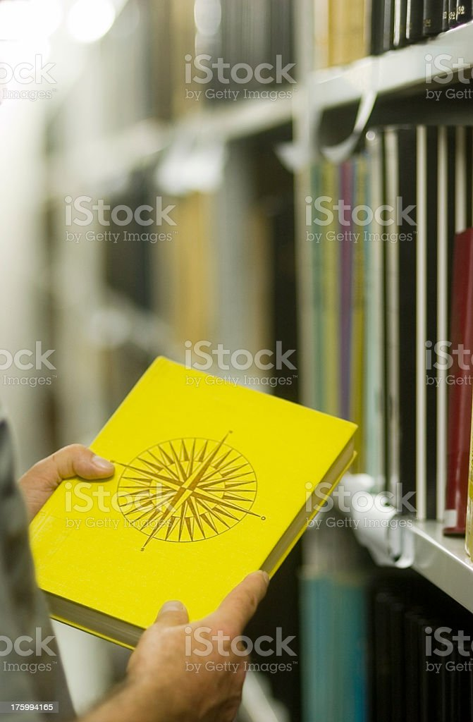 Library - yellow Book stock photo
