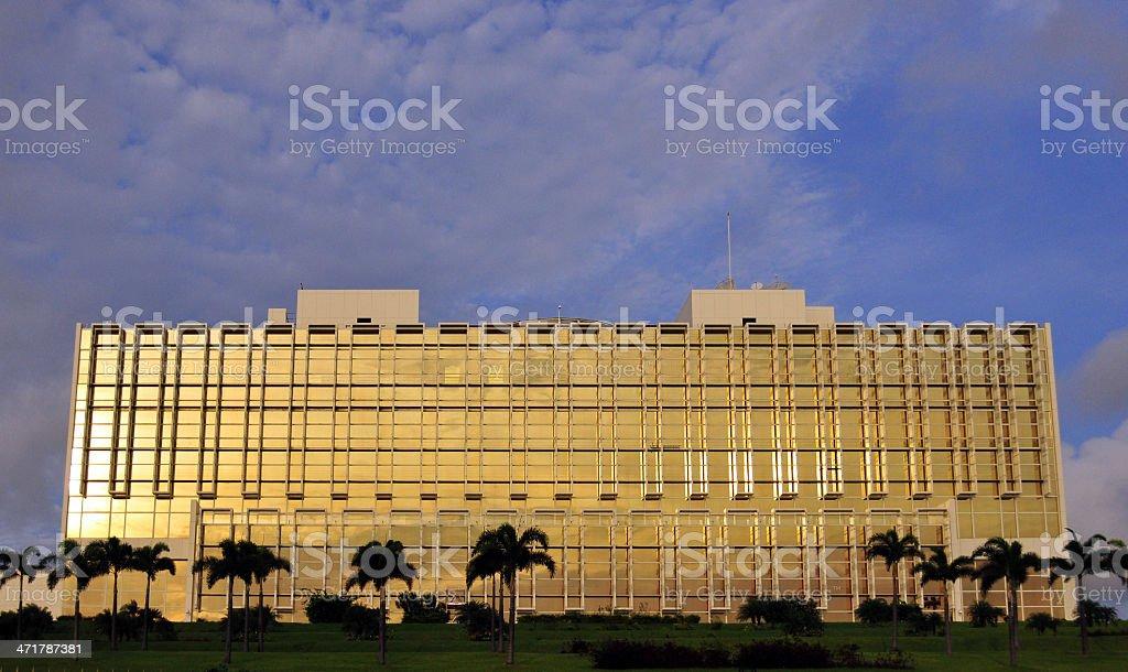Libreville, Gabon: golden fa?ade of the Presidential Palace stock photo