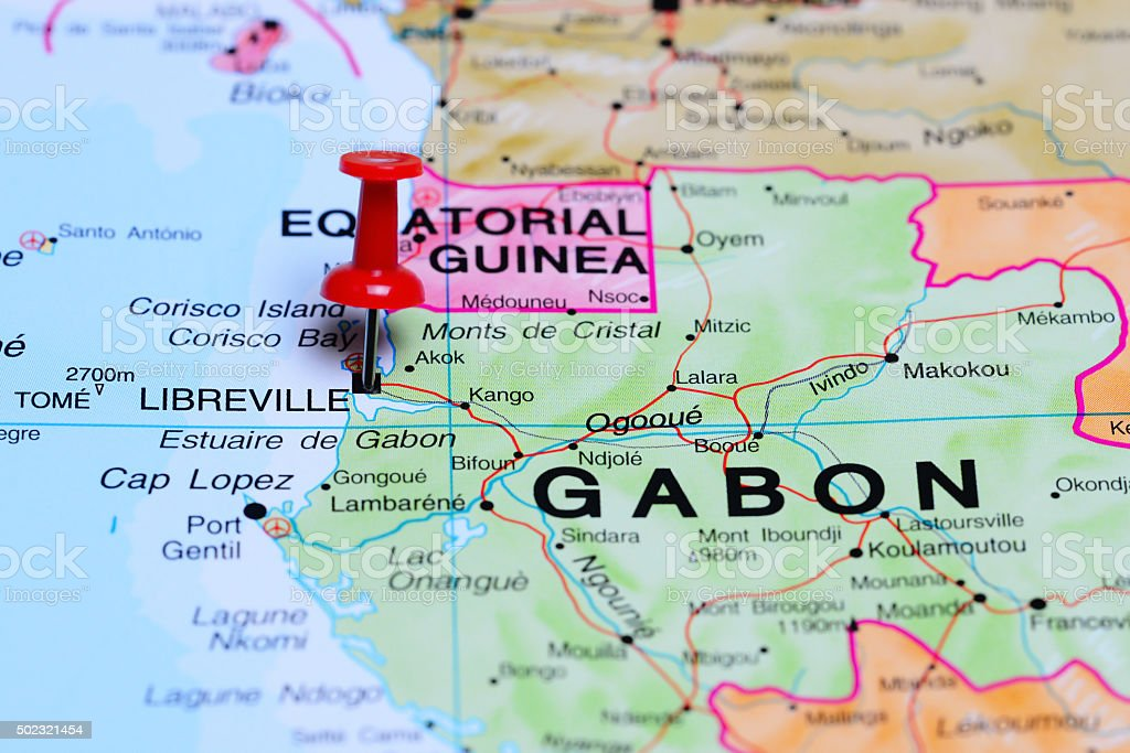 Libreville pinned on a map of Africa stock photo