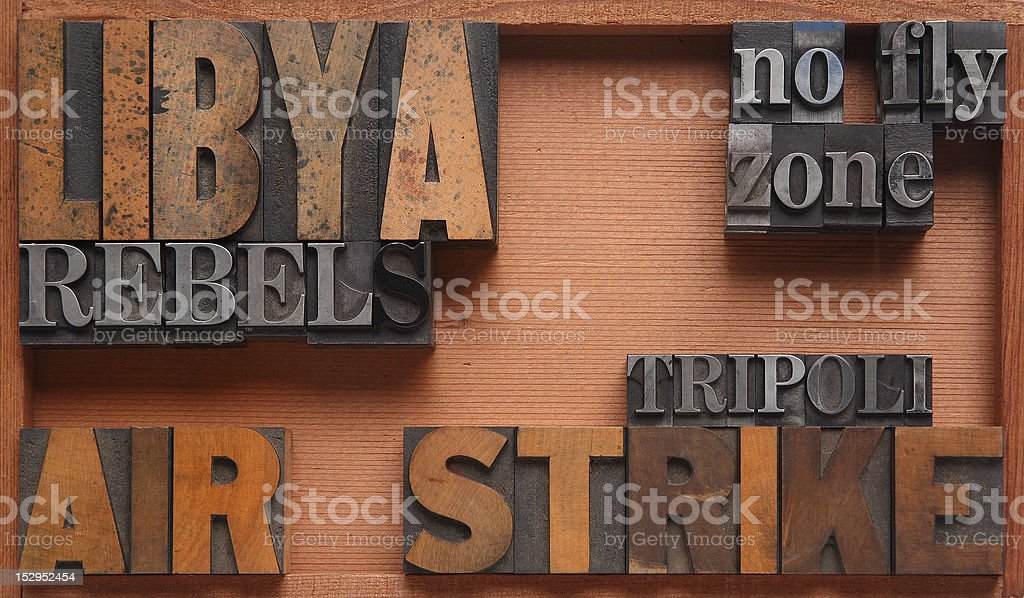 Libya airstrike words royalty-free stock photo