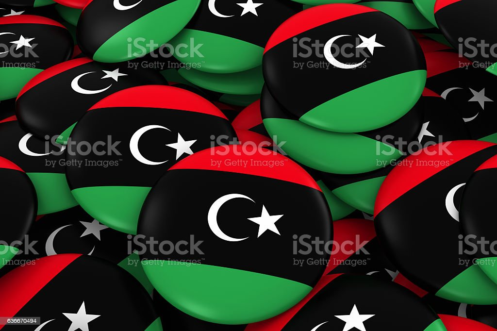 Libya Badges Background - Pile of Libyan Flag Buttons stock photo