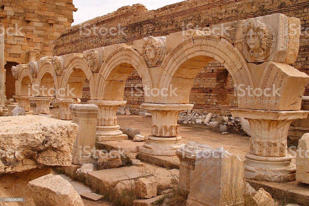 Libya Tripoli Leptis Magna Roman archaeological site. - UNESCO site. stock photo