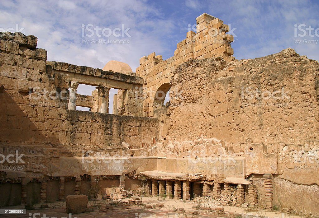 Libya, Tripoli, Leptis Magna Roman archaeological site. - UNESCO site. stock photo