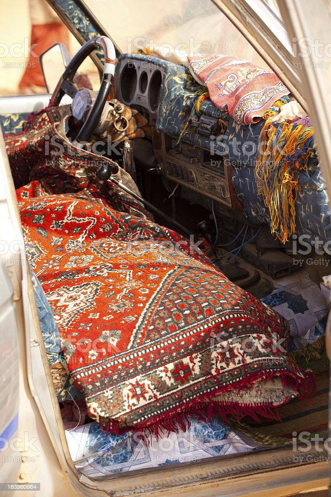 Libyan carpet lined car interior royalty-free stock photo