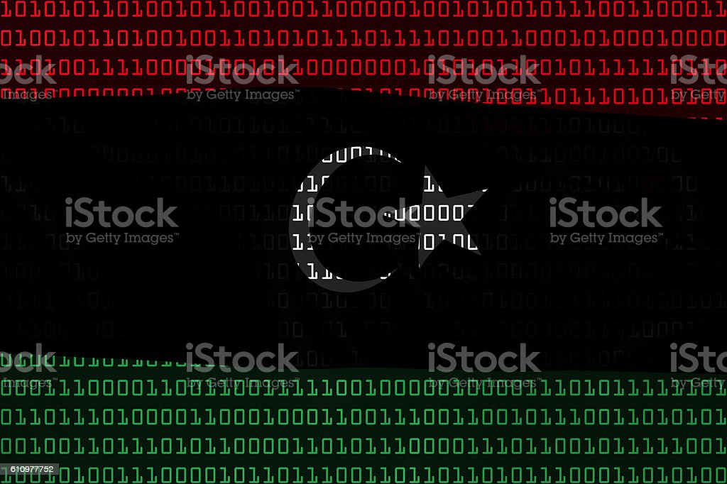 Libyan Technology Concept - Flag of Libya in Binary Code vector art illustration