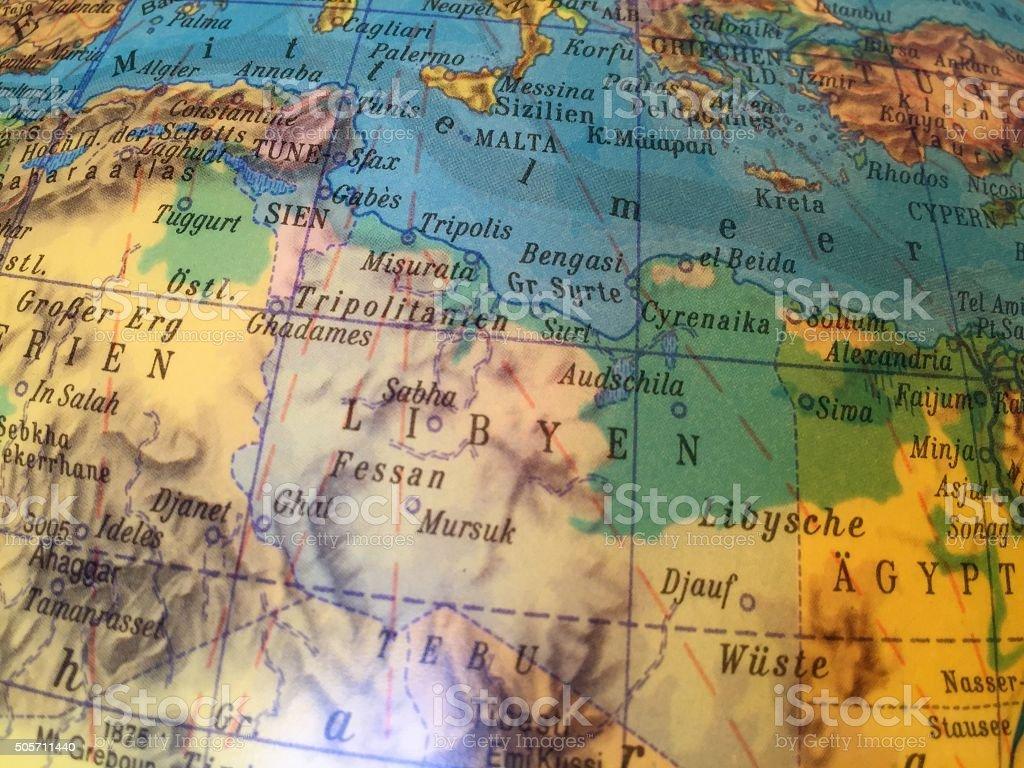 Libyen Karte - Alter Globus / Weltkarte stock photo