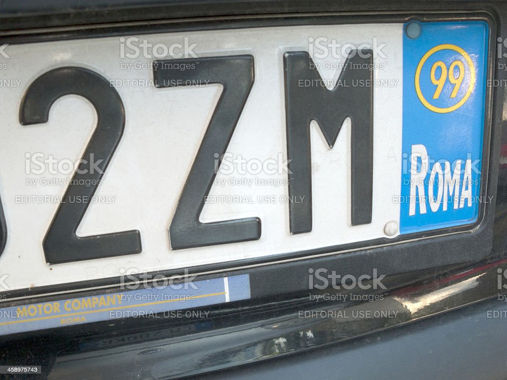License plate of Rome, Italy stock photo
