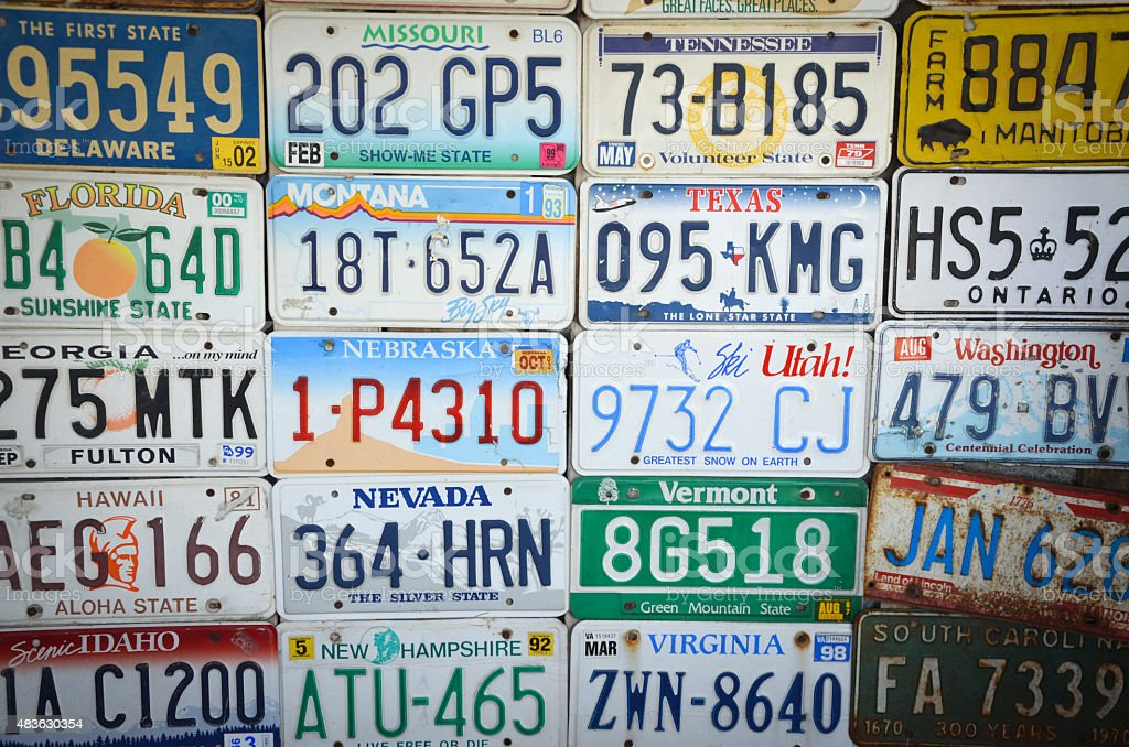 License Plates From Across America stock photo