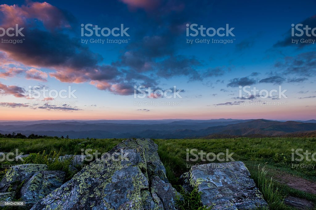 Lichen Covered Rocks at Sunset stock photo