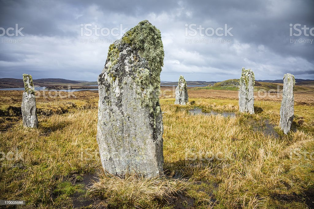 Lichen on the Callanish IV Standing Stones, Isle of Lewis royalty-free stock photo
