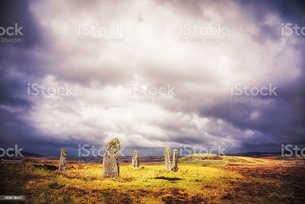 Lichen on the Callanish IV Standing Stones, Isle of Lewis stock photo