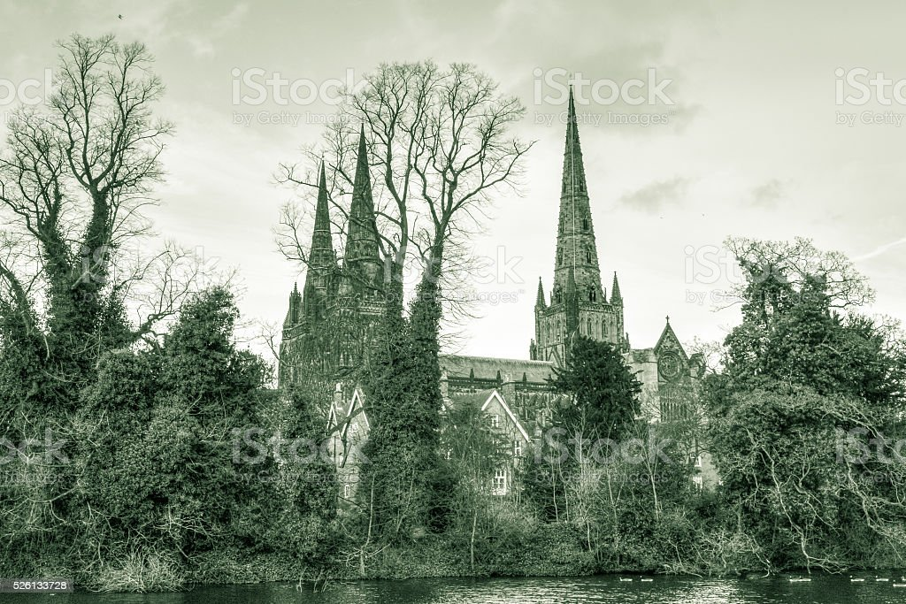 Lichfield Cathedral view from Minster Pool A stock photo