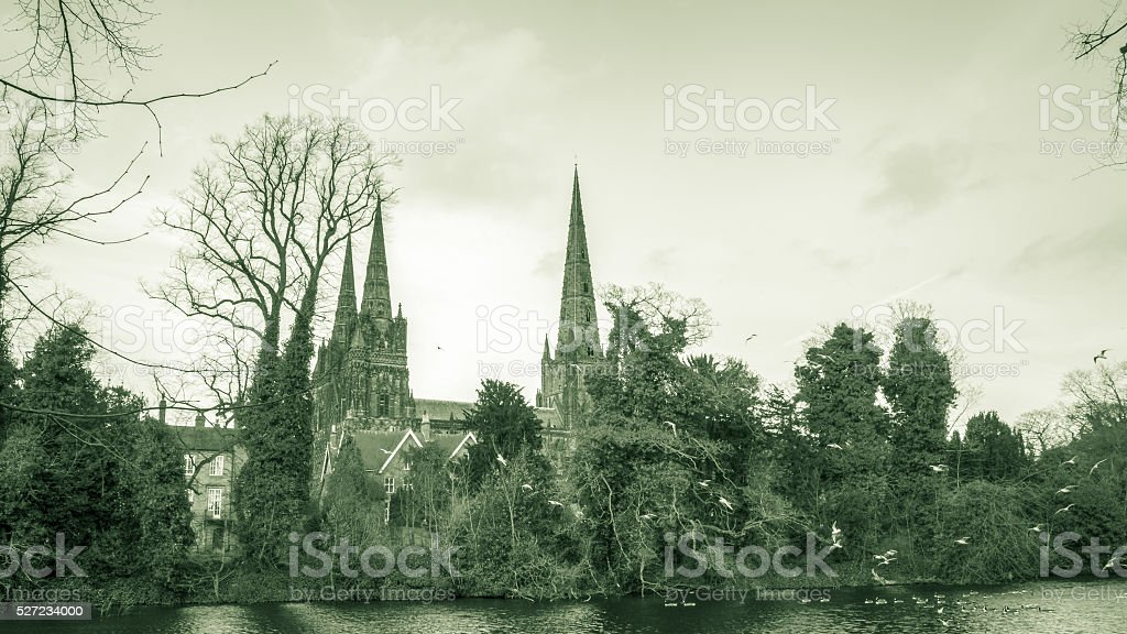 Lichfield Cathedral view from Minster Pool stock photo