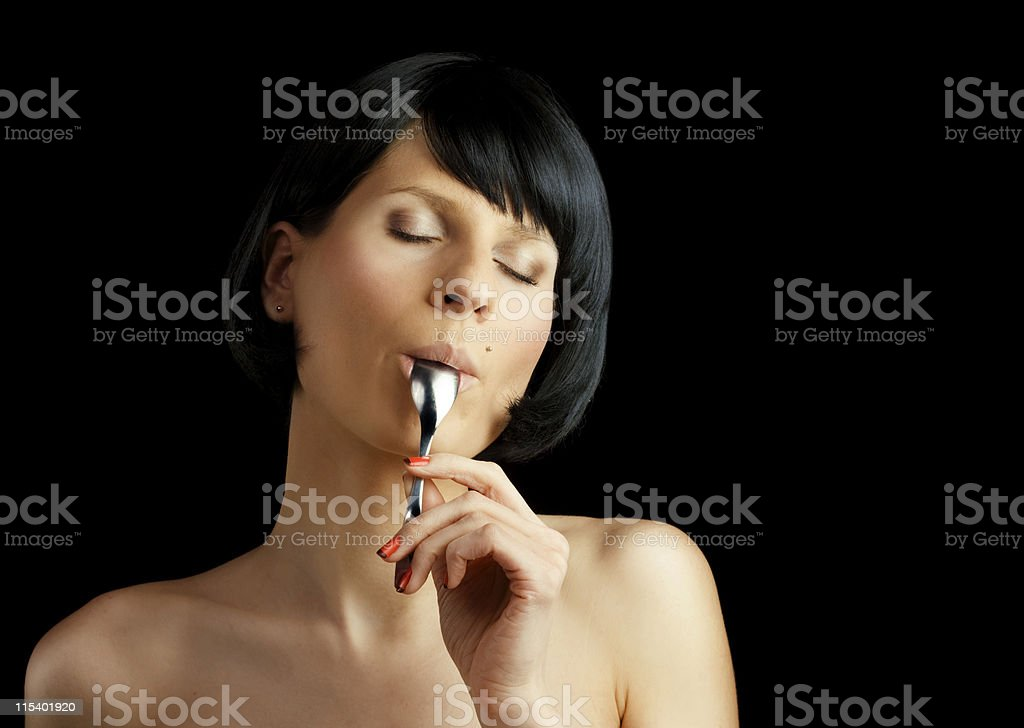 licking spoon royalty-free stock photo