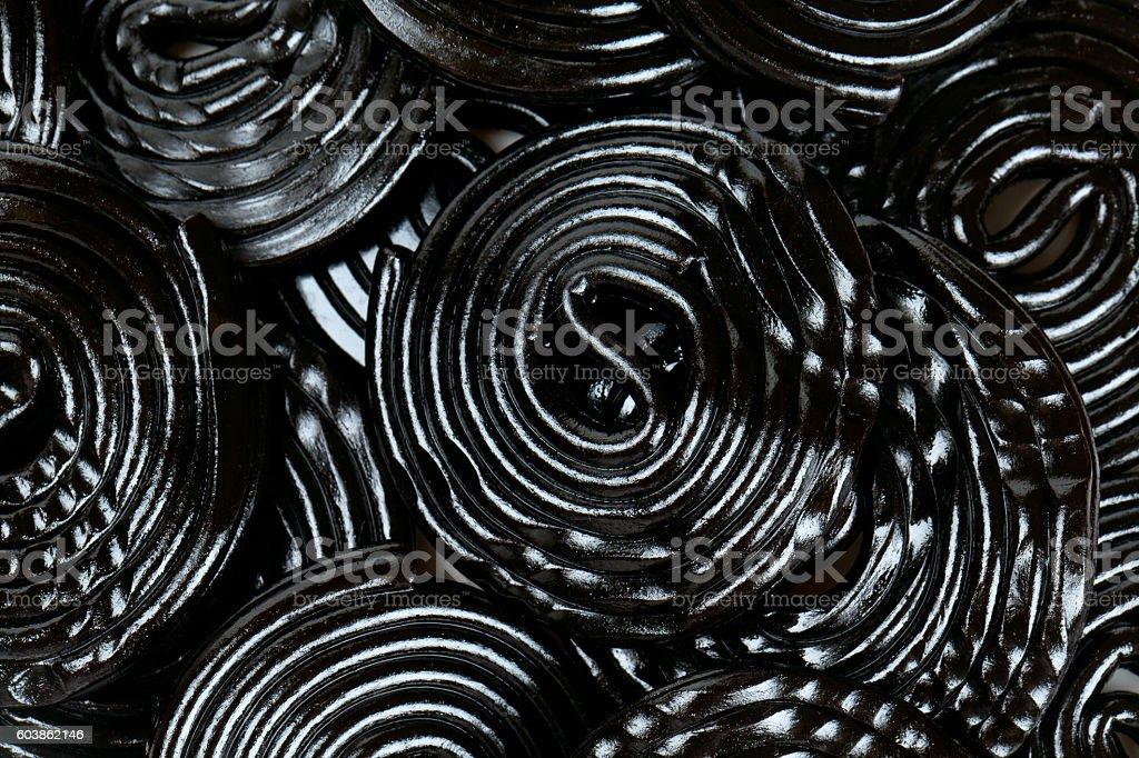 Licorice candies isolated on white background stock photo