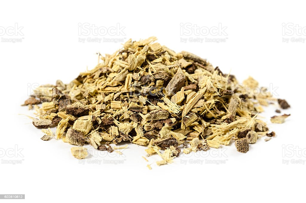 Licorice or liquorice root also used for tea isolated stock photo
