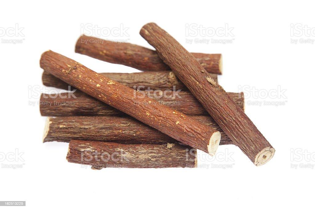 Licorice root, isolated stock photo