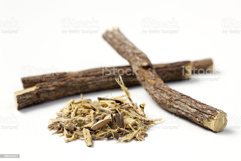 licorice root sticks and ground royalty-free stock photo