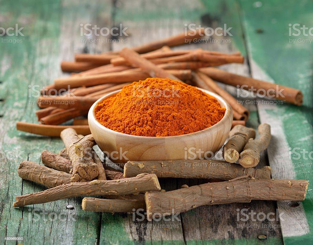 Licorice roots Cinnamon sticks and turmeric on wooden stock photo
